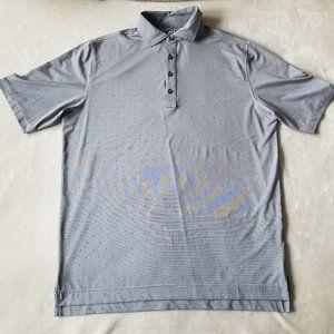 Footjoy Men's Polo Shirt Size Large Gray Pink Logo